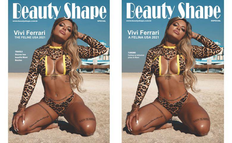 Vivi Ferrari deslumbrante na capa da revista Beauty Shape